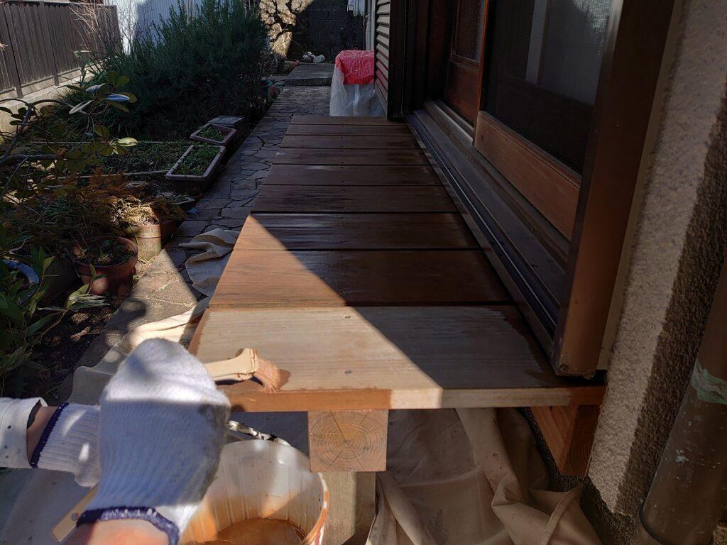 藤沢市の濡れ縁塗装